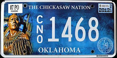 "OKLAHOMA "" CHICKASAW NATION TRIBE "" VERY RARE "" OK Indian Graphic License Plate"