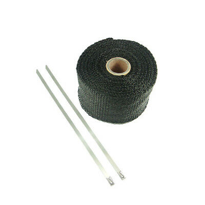 Black Exhaust Header Pipe Wrap 5m x 50 mm for Motorcycle Cafe Racer Bobber