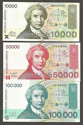 Croatia set of 3 notes; 10000, 50000 and 100000 Dinara 1992-1993, UNC, P-25a-27a