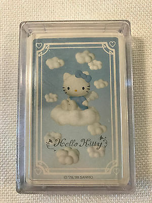Rare Hello Kitty Blue Angel Card Deck in Hard Plastic Case, 1999, NEW SEALED