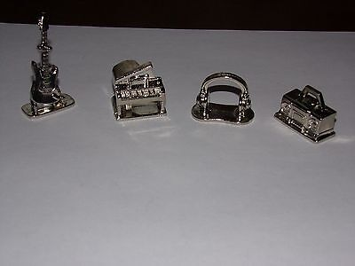 4 Metal Movers For Scene It? Music Replacement Parts Pieces 2005 Game Tokens