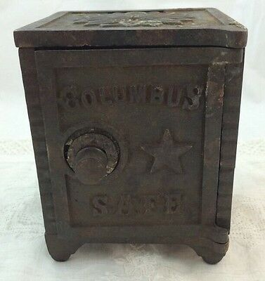 Early COLUMBUS Combination Cast Iron Toy SAFE Still Dime Bank Pat Appl For Toy