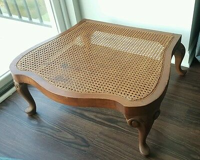 Vintage French Provencal Provincial Wooden Caned Rattan Foot Stool Ottoman