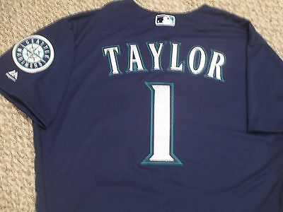 Chris Taylor SZ 46 #1 2016 Seattle Mariners game jersey Road Navy Blue hologram