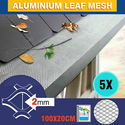 5PCS 100cm x 20cm Gutter Guard Aluminium Deluxe Leaf Mesh - Keeps The Leafs Out