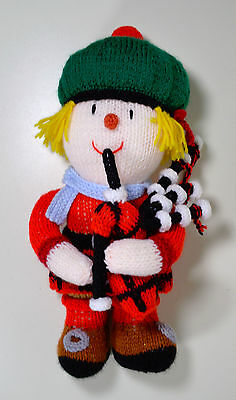 """Scottish Bagpipe Playing Unique Handmade 14"""" Crochet Knit Doll"""