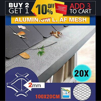 20PCS 100cm x 20cm Gutter Guard Aluminium Deluxe Leaf Mesh- Keeps The Leafs Out