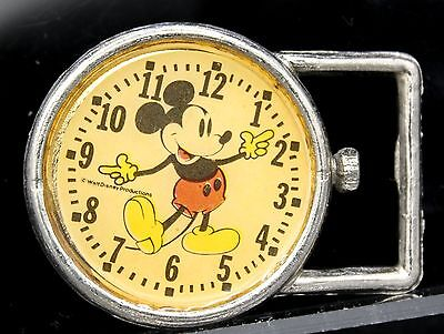 Rare Vtg Disneyland 60s Walt Disney Mickey Mouse Cartoon Watch Clock Belt Buckle