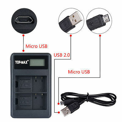 Dual EN-EL15 USB battery charger for Nikon SLR D7100 D7000 D800 D600 MB-D15