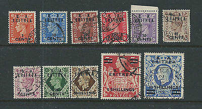 B A Eritrea 1950 Used to 10 Shillings missing 65c & 2sh50c
