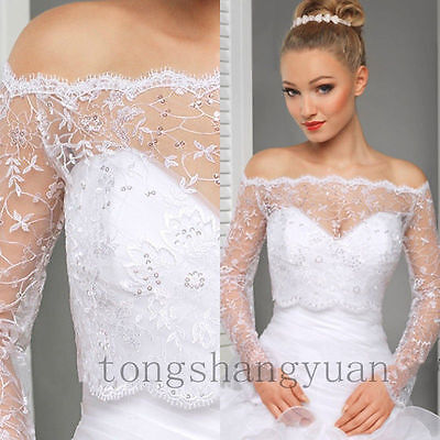 Long Sleeve Wedding Boleros For Bride Wrap Lace Applique Bridal Jacket Plus Size