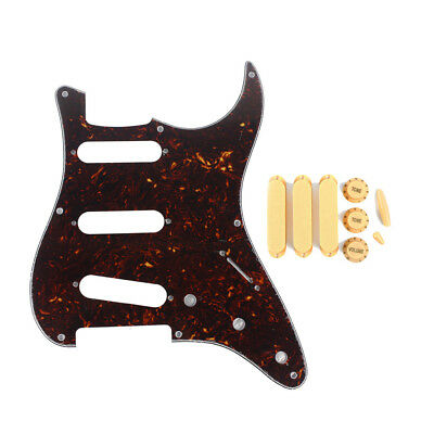 Fender Strat SSS Style Guitar Pickguard 8 Holes with Closed Pickup Covers Knobs