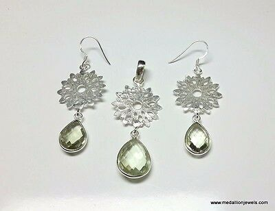 925 Solid Sterling Silver Natural Gemstone Green Amethyst Pear Facet Jewelry Set