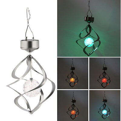 Solar Powered LED Wind Chime Wind Spinner Windchime Outdoor Garden Courtyard#F
