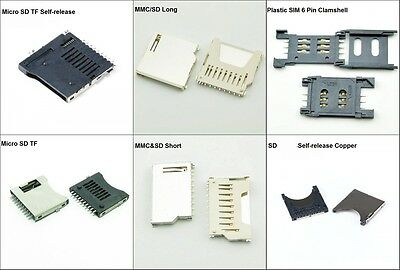 SD Deck TF/ MMC /SIM /Card Socket Micro Card Memory Card Holder Plastic/Copper