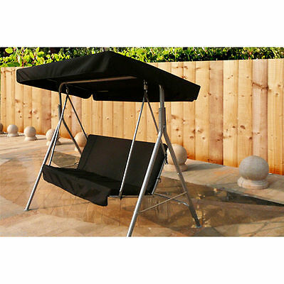 2 Seater Swinging Garden Hammock Bench Seat with Canopy & Seat Pads - Kingfisher