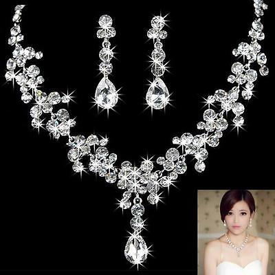 Crystal Diamante Wedding Bride Bridal Necklace Earrings Jewellery Set Prom Party