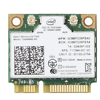 Intel Wireless-N 7260 7260HMW BN Mini PCI-E Wifi Bluetooth 4.0 Mini Wlan Card