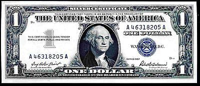 Silver Certificate, One Dollar, A46318205A, 1957, Almost Uncirculated.