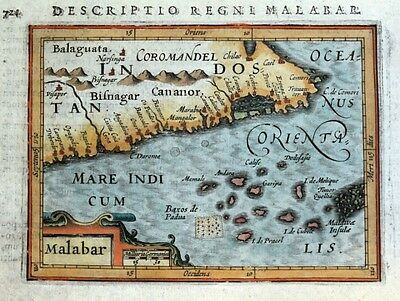 MALABAR, INDIA, MALDIVES, LAKSHADWEEP Is. GOA, BERTIUS original antique map 1618