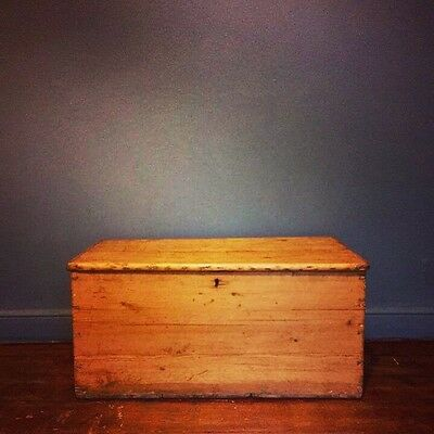 Vintage Pine Chest Trunk Blanket Box Coffee Table