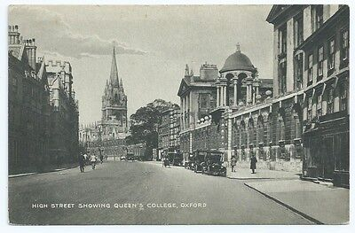 Vintage Postcard.High St. Showing Queen's College Oxford. Unused. Ref:5.186