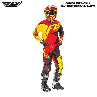 New 34 L Adult Fly Kinetic Jersey Pants Kit Red Yellow Motocross Enduro Sale!
