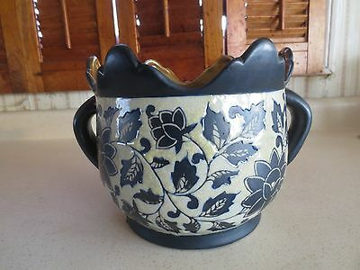 Old Cobalt Stoneware Matte & Gloss Finish Handled Jardiniere / Planter Asian?