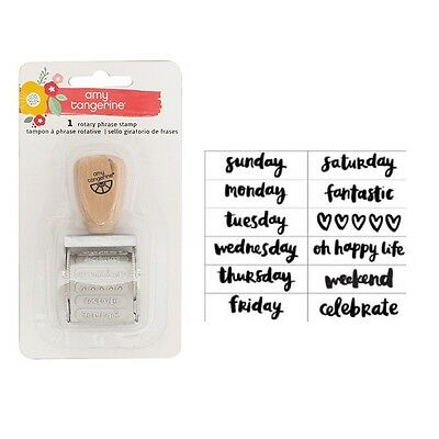 American Crafts Amy Tangerine Oh Happy Life Phrase Roller Stamp 376231