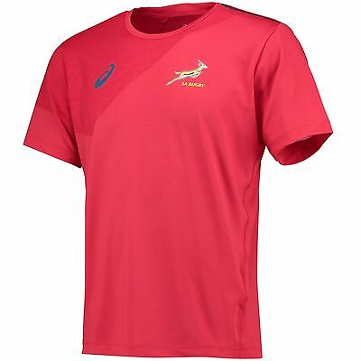 Adults Large South Africa Springboks Rugby SS Training TShirt Red H266