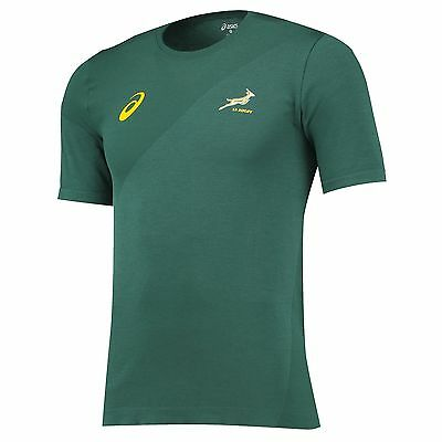Adults Large South Africa Springboks Rugby Match Day Training TShirt Green H268