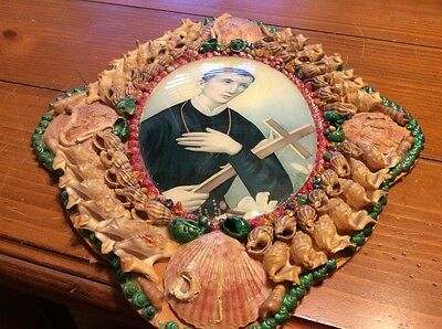 vintage Sea shell frame picture of Catholic Saint