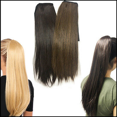 "22"" Ponytail Hair Style Extension Bun Long Fake/Imitation Pony Tail Brown/Blonde"
