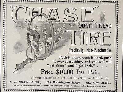 Antique 1896 Ad (1800-14)~Chase Tough Tread Bicycle Tire. Boston