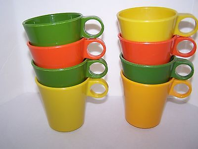 Vintage Plastic Multi Color Cups Made in USA Set of 8