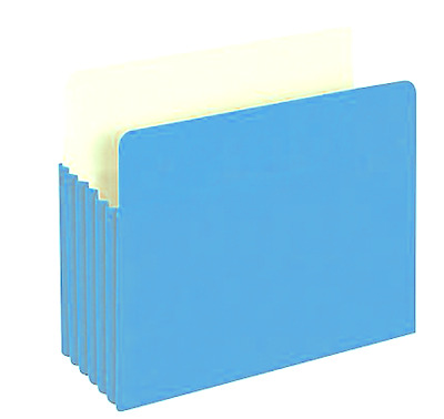 """Staples Colored Top Tab File Pockets 5 1/4"""" Expansion Letter Blue 25/Box"""