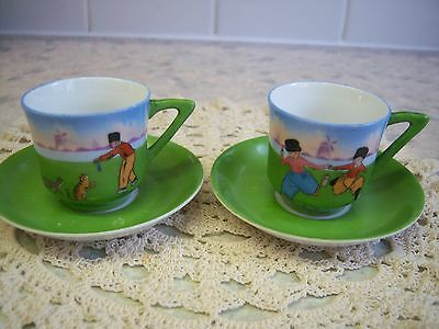 Collectable Pair of Small China Cups and Saucers