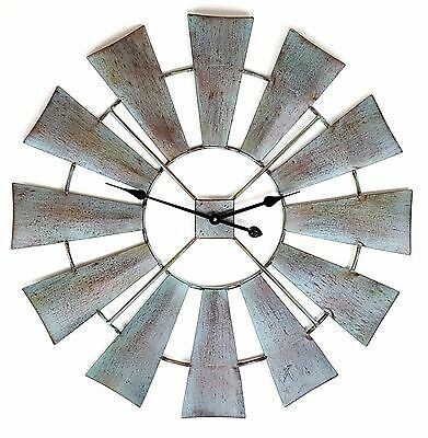 Metal Wall Clock Windmill Blade Hanging Sculpture Rustic Country Shabby BIG 80cm