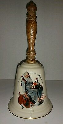 Vintage 1975 GORHAM Fine China Bell Norman Rockwell SANTA'S HELPERS Bell 9 inch