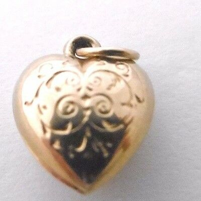 Vintage   A HEART   beautiful embossed 9ct rose gold miniature hollow charm