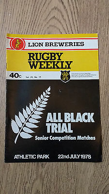 Probables v Possibles All Black Trials 1978 Rugby Union Programme