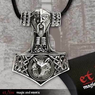 "etNOX pendant STERLING SILVER SILVER 925 ""THOR'S HAMMER WOLF'S HEAD"""