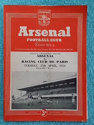 1954 - ARSENAL v RACING CLUB DE PARIS PROGRAMME - FRIENDLY