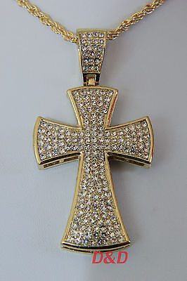 "14k Gold Finish Big Cross Pendant Clean Lab Diamond 32""Stainless Steel chain"