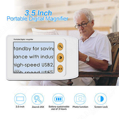 """2-25X 3.5"""" LCD Portable Electronic Digital Magnifier Reading Aid for Low Vision"""