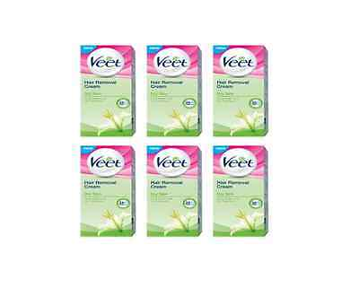 (x6) Veet Hair Removal Cream Dry Skin