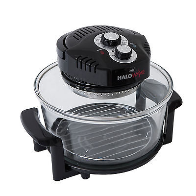 Halowave Oven (1400W) 10.5 Litre & Accessories w/ Fat Drainer - Faster (Black)