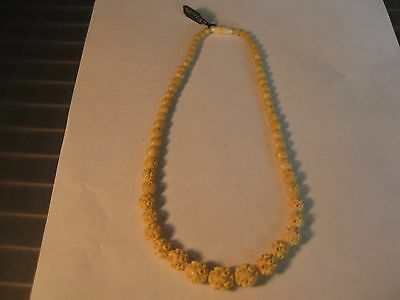 Women's Antique Vintage Carved Off White Bone Strand Necklace
