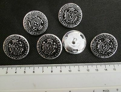 6 VINTAGE but UNUSED METAL BUTTONS with REX PLURES NON CAPIT ORBIS LUDOVICUS