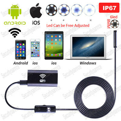 WIFI 6LED 8mm IP67 Android Endoscope Borescope Snake Inspection Camera Scope IOS